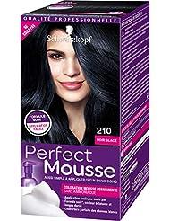 Schwarzkopf Perfect Mousse - Coloration Mousse Permanente sans Ammoniaque - Noir Glace 210