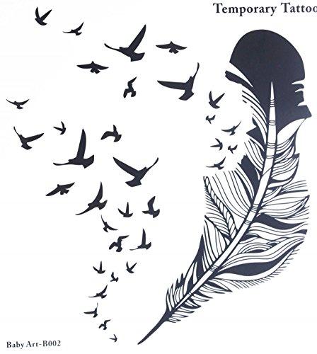 Faux tatouages vente chaude à la mode grande plume et de nombreux oiseaux stcker de tatouage temporaire