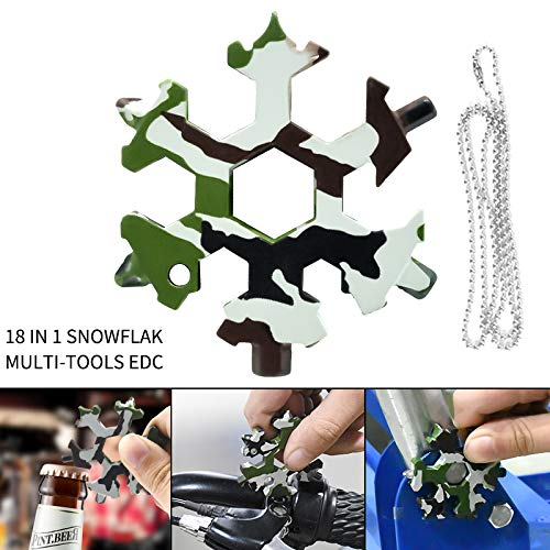 Price comparison product image Ownest 18 in 1 Stainless Steel Snowflake Multi-Tool Camouflage, Outdoor Portable [Including Bottle Opener, Screwdriver, Can Opener. Etc.] Christmas Gifts, Men's Gifts-(Army Camouflage-2)