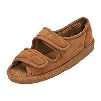 JWF Unisex Wide Fit Open Toe Slippers Shoe Camel UK 7/40