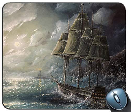 Alfombrilla de raming de Costura de precisión, Dibujo de Vela de mar Art Storm Pattern Rectángulo Personalizada Alfombra de Mouse de Goma Antideslizante Alfombrillas de ratón de Juego