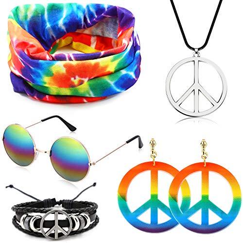 SPECOOL Set di costumi per hippy Accessori hippy Arcobaleno pace Collana e orecchini Bracciale Arcobaleno Fascia Stile anni 60 Halloween Hippy Dress