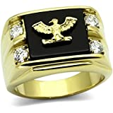 Men's 24k Gold Over Stainless Steel Genuine AGATE Black Stone Eagle & Top Grade Crystals Ring. 10.8gr. 16mm. Remarkable Quality.