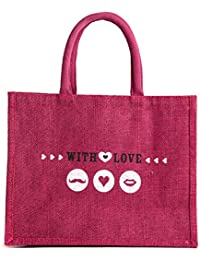 H&B Beautiful, Trendy & Stylish Beige Color Jute Handbag/Quality Lunch Bag/ Gift Bag, Love Bag For Valentine Gift... - B078YNLCM8