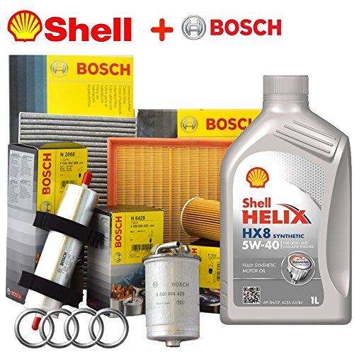Kit Tagliando 4 filters Bosch + 5lt Shell Helix Oil HX8 5 W40 (1457429192, XX, 026407023, 1987429404, 1987429404)