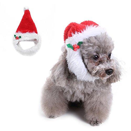 Jannyshop Hut Weihnachten Kostüm mit Bart Rot Schmuck für Haustier Hunde Katzen (Ideen Kostüme Halloween Bart)