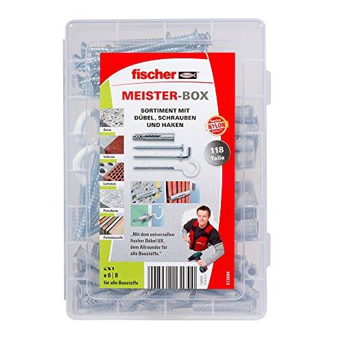 fischer MEISTER-BOX UX mit Schrauben und Haken, Dübelset mit 118 Teilen, Universaldübel, für alle Baustoffe, praktische Dübelkiste für Heimwerker & Profis