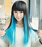 Parrucca sexy da donna con capelli lunghi e lisci neri e blu,per recite