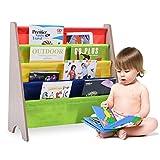 COSTWAY Kinder-Bücherregal Hängefächerregal Büchergestell Zeitungsständer mit 4 Ablagefächern (Natur+Bunt)