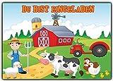 Bauernhof Einladungskarten Kindergeburtstag Bauer mit Tieren & Traktor (10 Stück) Trecker Schaf Huhn Kuh Gans Farmer Einladung