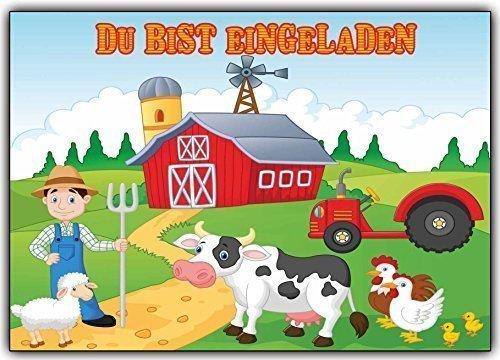 karten Kindergeburtstag Bauer mit Tieren & Traktor (10 Stück) Trecker Kuh Huhn Schaf Gans Farmer (Mädchen Ninja-namen)