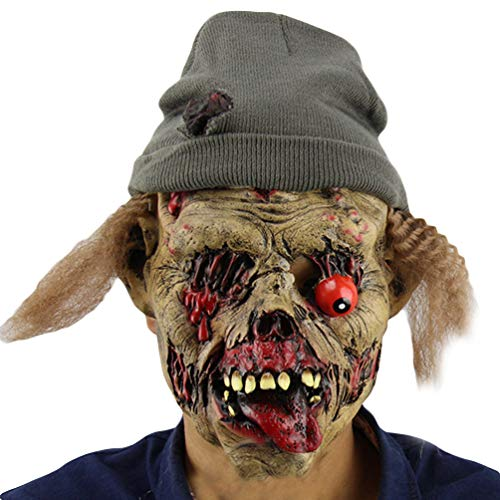 Xinwcanga Halloween Maske Latex Horror Voller Kopf Helm mit Haar Film Cosplay Kostüm Kleidung Replik Zubehör (Braun, One size)