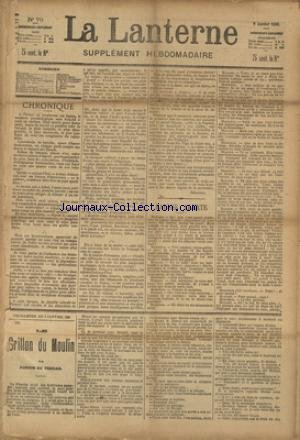 LANTERNE (LA) [No 79] du 03/01/1886 - FAUSSE ALERTE PAR DROZ - LA FEMME DU LIBRAIRE PAR MONSELET - UN MEURTRE DANS UNE DILIGENCE PAR DE SAUVENIERE - LE COEUR PAR CHAMPSAUR - LA SANTE PUBLIQUE PAR LE DR MARC - FEUILLETON / LE GRILLON DU MOULIN PAR PONSON DU TERRAIL