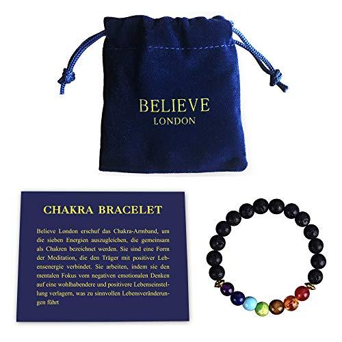 Believe London Chakra Armband mit Schmuckbeutel & Bedeutung Karte | Verstellbares Armband passend zu Allen Handgelenken | 7 Chakra Naturstein | Heilung Reiki Yoga