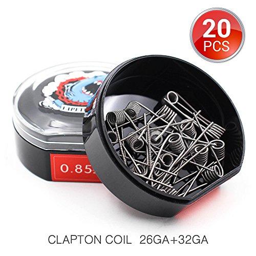 20 Stück Clapton Coils Vorkompilierte Draht by Vapethink, AWG(26GA + 32GA) 0.85 ohm -