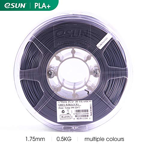 eSUN PLA+ 3D Drucker Filament, PLA Plus Filament 1.75mm, Dimension Genauigkeit +/- 0.03mm, 1.1 lbs (0.5kg) Rolle, 3D Drucken Filament für 3D-Druckern und 3D-Stiften in Vakuumverpackung, Grau