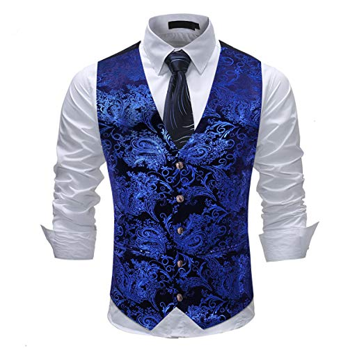 Allthemen Herren Jacquard Anzugweste für Party und Hochzeit Blau Medium