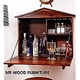 MP Wood Furniture Solid Sheesham Wood Wall Bar Cabinet (Teak)