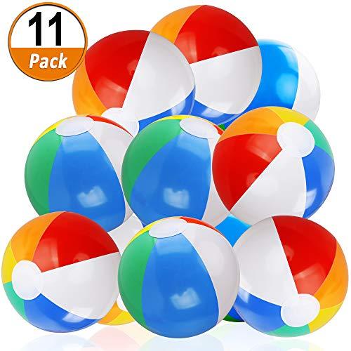 11 Stücke Aufblasbare Wasserbälle Klassische Bunte Badeball ,20cm Schwimmball Freien Wasserball Wasser Spiel Spielzeug für Kinder Jungen Mädchen (8 bis 12 Zoll von Aufgeblasen bis Entleert) - Aufgeblasen Mädchen