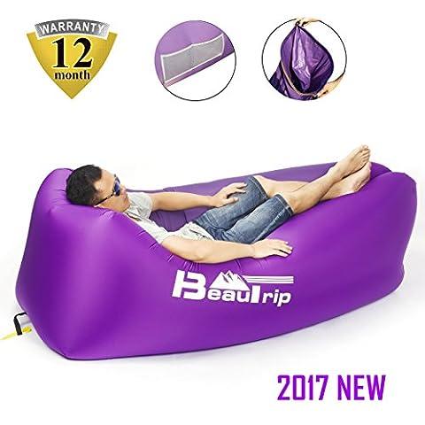 BEAUTRIP 2017 Nouvelle version! 100% Nylon Canapé Chaise Transat gonflable avec poches, Ancre de sécurité et Ouvre-bouteille - Idéal pour l