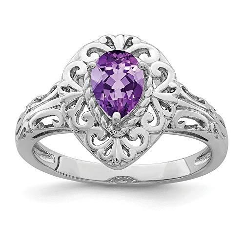 925Sterling Silber rhodiniert Simulierte Amethyst Tropfenform Ring, - Ringe Teardrop Amethyst