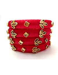 Kundan Work Rajputani Red SilkThread Bangles For Women And Girls/Fashion Bangles For Girls And Women's (size 2.6...