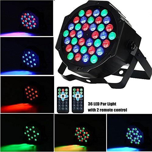 AONCO 36 LED Scheinwerfer Par Strahler, Discolicht, DJ Strobe Light, Bühnenbeleuchtung, Lampe, RBG mixing, 36W, DMX In/Out, 7 DMX Modi, 2 Fernsteuerungen