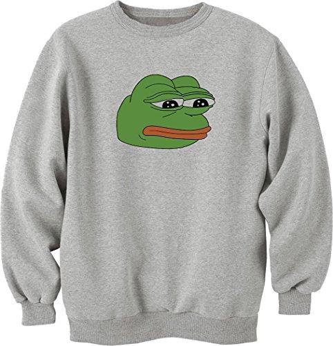 Nothingtowear Pepe sad Frog Funny Meme Sweatshirt Pullover grau (S)