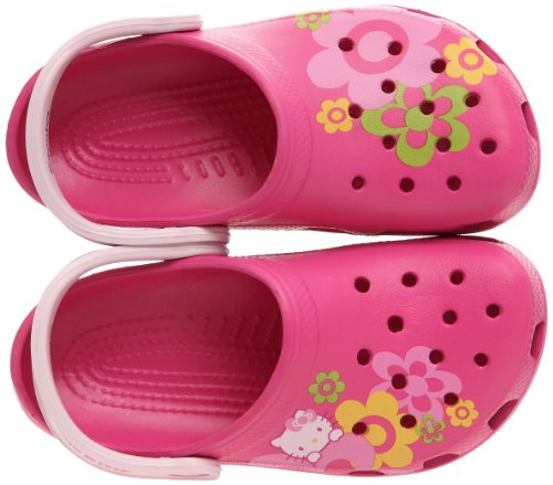 Crocs Classic Kids Hello Kitty Flowers, Sabots fille Rose (Fuchsia/Bubblegum)