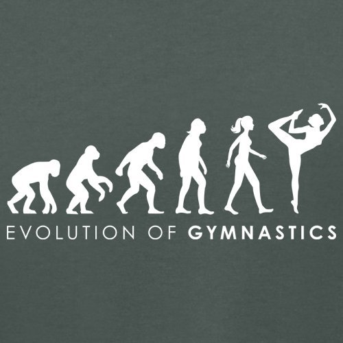 Evolution of Woman - Gymnastik - Damen T-Shirt - 14 Farben Dunkelgrau