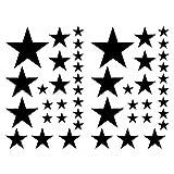 Samunshi Set de stickers étoiles, Noir , 14x2,5cm 6x5cm 2x7,5cm 1x10cm
