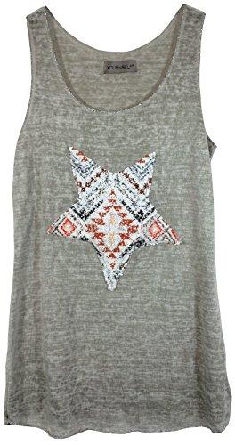 Damen Top Trägershirt in exclusivem Leinen-Mix mit Pailetten-Motiv, MADE IN ITALY Graumeliert