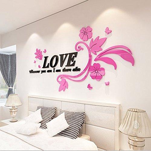 XMJR Wall decoration Schöpferische Liebe rattan Acryl stereoskopischen 3D-Mauer romantische Paare Schlafzimmer Wohnzimmer Schlafsofa wand Deko Poster, Rattan - rechts - Schwarz Rosa Blume.