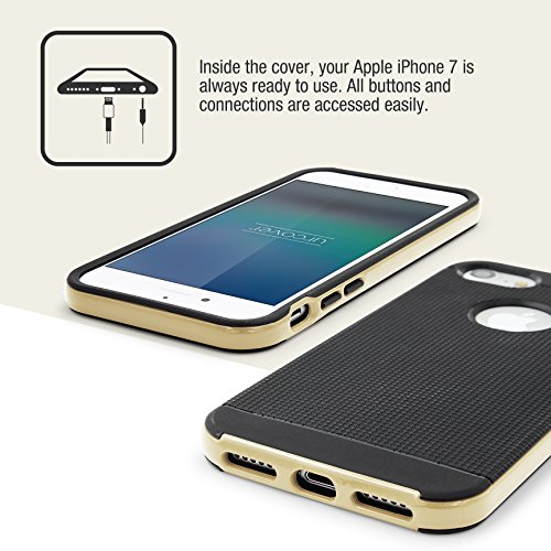 Urcover® Apple iPhone 7 Hülle | Hybrid Series | Dual Layer Kunststoff in Grün | Tasche Case Handy-Cover Schutz-Hülle Schale Gold Dual Layer