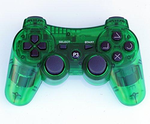 FiveStar Transparent Kabelloser Fernbedienung PS3Controller Gamepad für Verwendung mit Playstation 3 Grün (Ps3 Wireless Controller Grün)