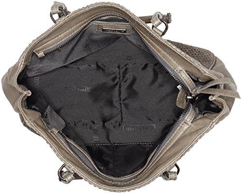 Caterina Lucchi Damen Agnello Intagliato Umhängetasche, 11 x 21 x 27 cm Grau (Grey)