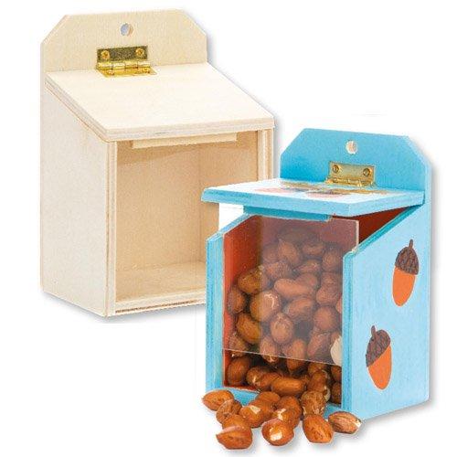 Eichhörnchen-Futterkästen aus Holz für Kinder als Bastel- und Deko-Idee Zum Gestalten für Jungen und Mädchen (2 Stück)