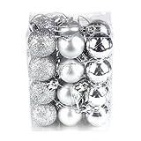 Cheerfulus 24 Stücke Weihnachtskugeln Silber glänzend glitzernd matt Christbaumschmuck bis Ø 3 cm Baumschmuck Weihnachten Deko Anhänger