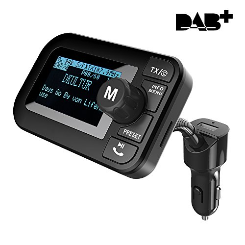Am-antenne Kit (FirstE Auto DAB+ Radio Adapter mit FM Transmitter, Bluetooth Freisprecheinrichtung, Wireless MP3 Player Musik Receiver, DAB Digital Radio Adapter mit Kfz Ladegerät/TF Slot/Aux Out/2,3 Zoll LCD Display)