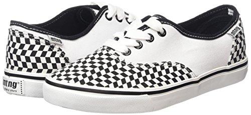 Mtng Attitude, Sneaker, Unisexe Adulte Rhombuses Noir / Toile 2 Blanc