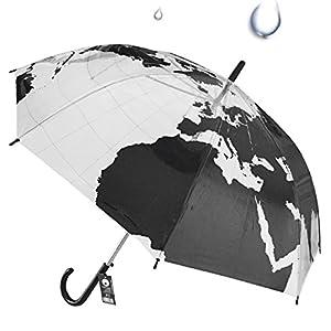 Paraguas Mapamundi Transparente apertura automática – 100 cm de diámetro una vez abierto – Plástico de alta resistencia  – Continente Europa, America, Asia, África con océanos Atlántico, Índico, Pacífico y mar Mediterráneo transparente – Melquiades Original