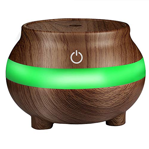 Aroma Diffuser, Yanhoo USB Air Aroma Ätherisches Öl Diffusor LED Ultraschall Aroma Aromatherapie Humidifie Holz Aromatherapie Maschine Luftbefeuchter (Braun)
