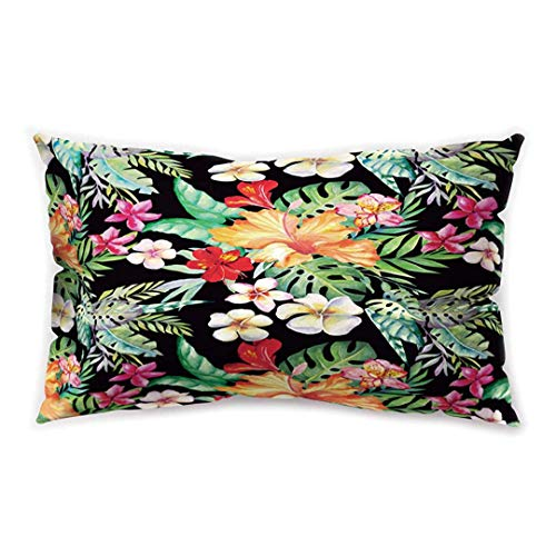 Blakww Tropical Style Rectangular Cushion Cover Flower Green Plant Leaf Printing Double-Sided Soft Plush Pillowcase 30 x 20 inhces