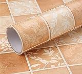 WanJiaMen'Shop Wasserdichte Selbstklebende PVC-Tapete Öl-Beweis Badezimmer Badezimmer Balkon Tapete Mosaik Nachahmung Fliese Muster Aufkleber, 300 * 60cm, F