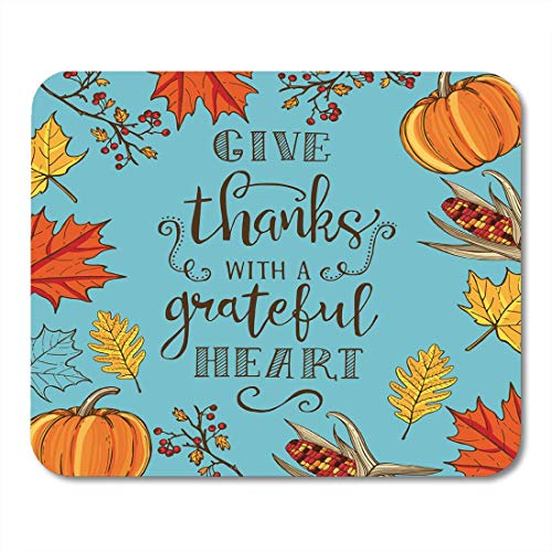 AOHOT Mauspads Thanksgiving Vintage Maple and Oak Leaves Branches Berries Pumpkin Indian Corn Lettering Mouse Pad Mats 9.5