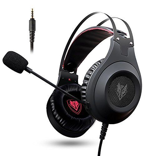 NUBWO N2 PS4 Gaming Headset, Stereo Wired PC Gaming Headset mit Rausch unterdrückungs mikrofon,Over-Ear Kopfhörer für PC/PS4/ Xbox One/MAC/Android/iPhone/Cell Phone/Laptop/Tablet-Schwarz