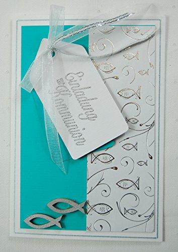5 x Hochwertige Einladungskarten zur Kommunion Fische - türkis *Handmade*