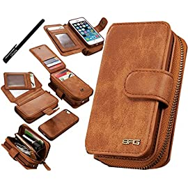 Urvoix iPhone SE 5S 5 Case, Premium Leather Zipper Wallet Multi-functional Handbag Detachable Removable Magnetic Case with Flip Card Holder Cover for Appple iPhone 5 5S SE