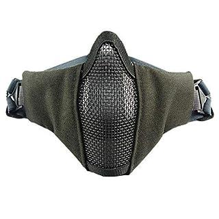 VANSENG V10 Gesichtsmaske aus Stahldraht Mesh Hälfte Militärventilator Schutzausrüstung für Außenbereich ausgestattet Taktische CS Maske (Grau)