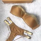 Bikini Frauen Badeanzug 2018 Drucken Badeanzug Bikini Strand Bademode Badeanzug, Golden, S